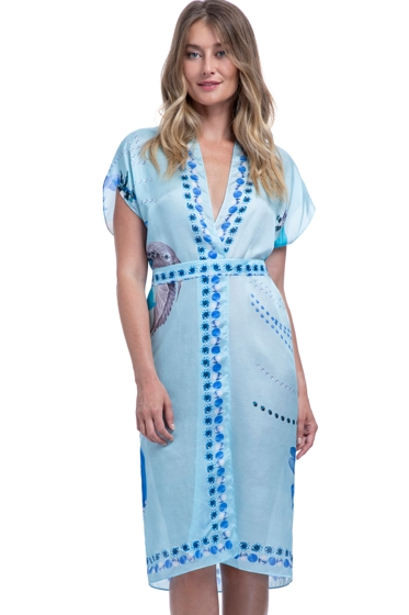 Gottex Collection Paradise Blue Kimono with Belt