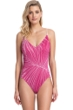 Gottex Collection Palla Raspberry V-Neck One Piece Swimsuit