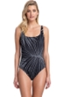 Gottex Collection Palla Black and White Square Neck One Piece Swimsuit
