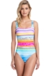 Full Coverage Gottex Collection Piruleta Square Neck High Back One Piece Swimsuit