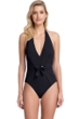 Gottex Collection Vogue Black Halter Tie Back One Piece Swimsuit