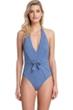 Gottex Collection Vogue Dusk Blue Halter Tie Back One Piece Swimsuit