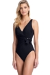 Full Coverage Gottex Collection Vogue Black V-Neck Surplice High Back One Piece Swimsuit