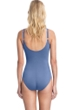Full Coverage Gottex Collection Vogue Dusk Blue V-Neck Surplice High Back One Piece Swimsuit