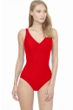 Gottex Essentials Aphrodite Red Full Coverage Surplice One Piece Swimsuit