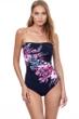 Gottex Essentials Cherry Blossom Multi Color Bandeau Strapless One Piece Swimsuit
