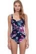 Gottex Essentials Cherry Blossom Multi Color Full Coverage Square Neck One Piece Swimsuit