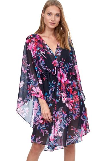 Gottex Essentials Cherry Blossom Multi Color Short Cover Up Caftan