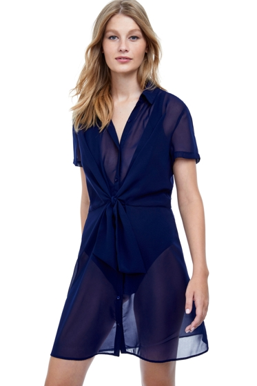 Gottex Collection Chic Nautique Navy Button Up Tie Front Cover Up Dress