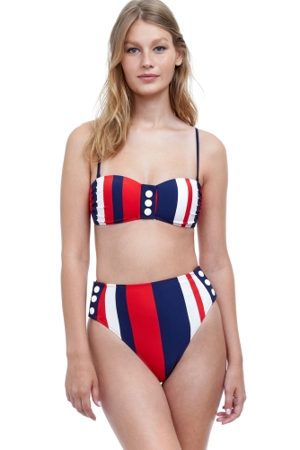 Gottex Collection Chic Nautique Bandeau Bikini Top with Matching High Waist Bikini Bottom