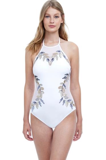 Gottex Eros White High Neck Halter One Piece Swimsuit