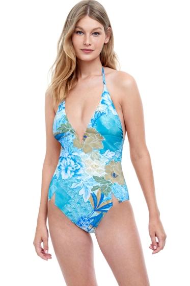 Gottex Golden Era Blue Halter Triangle One Piece Swimsuit