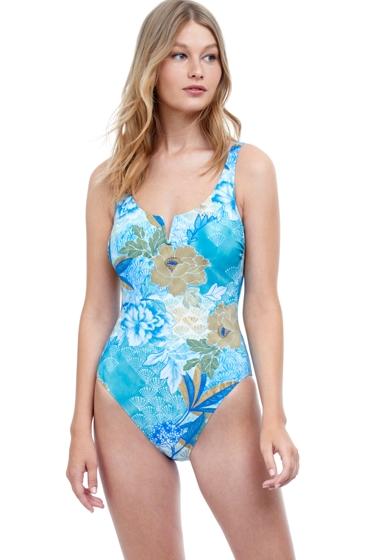 Gottex Golden Era Blue Round Neck One Piece Swimsuit