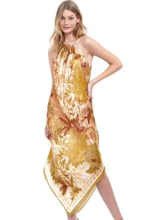 Gottex Golden Era Yellow High Neck Halter Handkerchief Cover Up Dress