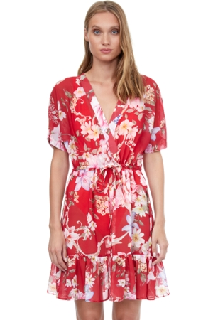 Gottex Classics Hitachi V-Neck Flounce Beach Cover Up Dress