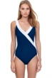Gottex Essentials Prime Navy and White Full Coverage Surplice One Piece Swimsuit
