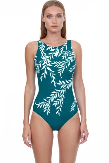 Gottex Essentials Portofino Teal Mastectomy High Neck One Piece Swimsuit