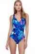 Gottex Essentials Reflection Multi Blue Full Coverage V-Neck One Piece Swimsuit