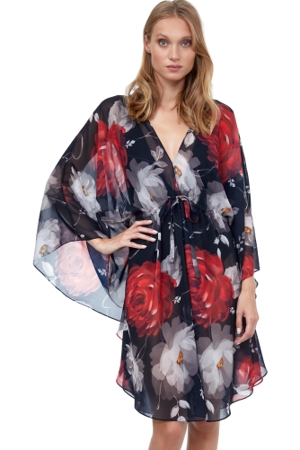 Gottex Roses Are Red Short Caftan Cover Up Dress