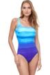 Gottex Essentials Twilight Multi Blue Full Coverage Square Neck One Piece Swimsuit
