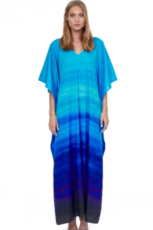 Gottex Essentials Twilight V-Neck Long Cover Up Caftan