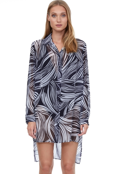 Gottex Essentials Whisper Black and White High Low Cover Up Beach Blouse