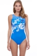 Gottex Essentials Water Spring Multi Blue Mastectomy High Neck One Piece Swimsuit