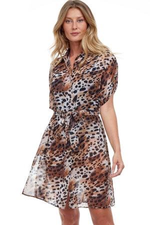 Gottex Essentials Animalia East Brown Cover Up Blouse Dress