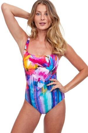 Gottex Classics Italian Summer Full Coverage Square Neck One Piece Swimsuit