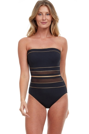 Gottex Essentials Onyx Black and Gold Bandeau One Piece Swimsuit