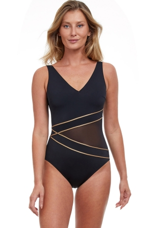 Gottex Essentials Onyx Black and Gold Full Coverage V-Neck One Piece Swimsuit