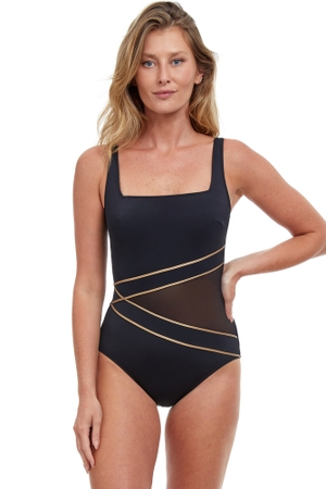 Gottex Essentials Onyx Black and Gold Full Coverage Square Neck One Piece Swimsuit