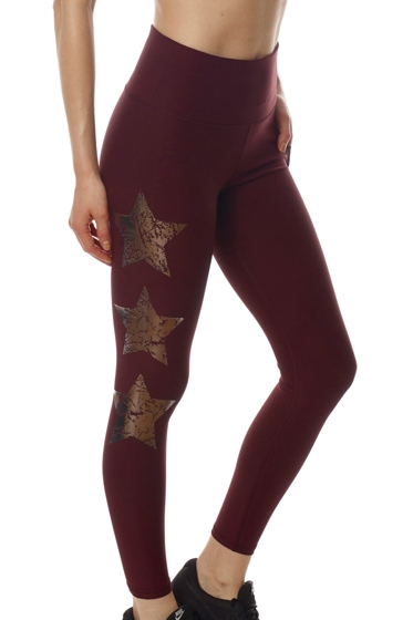 X by Gottex Wine High Waisted Chrome Star Legging with Pocket