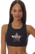 X by Gottex Black Chrome Star Mesh High Neck Low Impact Sports Bra