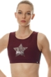 X by Gottex Wine Chrome Star Mesh High Neck Low Impact Sports Bra