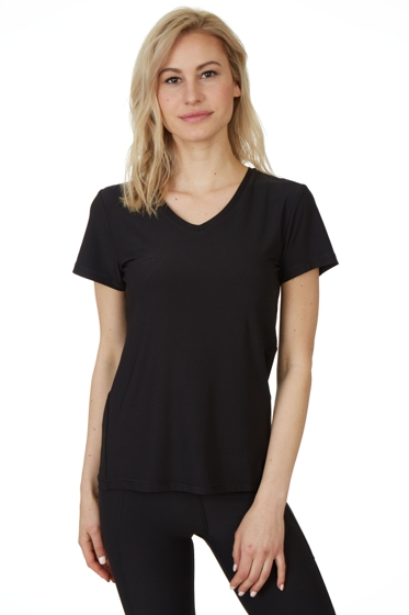 X by Gottex Black Honey Comb Loose Fit Short Sleeve V-Neck Top