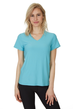 X by Gottex Emerald Sea Honey Comb Loose Fit Short Sleeve V-Neck Top