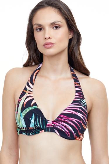 Profile by Gottex Tropico Black Underwire D-Cup Halter Bikini Top
