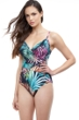 Profile by Gottex Tropico Black V-Neck Surplice One Piece Swimsuit