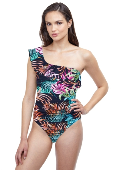 Profile by Gottex Tropico Black Ruffle One Shoulder One Piece Swimsuit