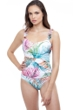 Profile by Gottex Tropico Blue Underwire D-Cup Wide Strap One Piece Swimsuit
