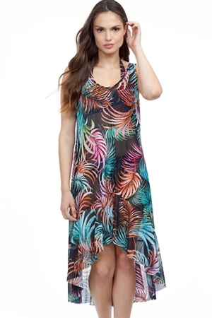 Profile by Gottex Tropico Multi Black Round Neck High Low Mesh Dress