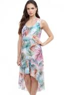 Profile by Gottex Tropico White Round Neck High Low Mesh Dress