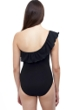 Profile by Gottex Pleat It Black Ruffle One Shoulder One Piece Swimsuit