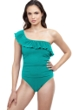 Profile by Gottex Pleat It Teal Ruffle One Shoulder One Piece Swimsuit