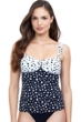 Profile by Gottex Dotty Black and White Twist Front Tankini Top