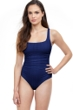 Profile by Gottex Afternoon Tea Navy Textured Round Neck One Piece Swimsuit
