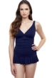 Profile by Gottex Afternoon Tea Navy Textured Underwire D-Cup Wide Strap One Piece Swimsuit