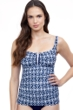 Profile by Gottex D-Cup Nomad Blue and White Underwire Round Neck Tankini Top