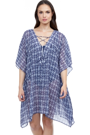 Profile by Gottex Nomad Blue and White V-Neck Strappy Dress